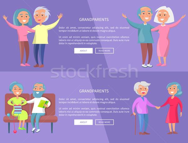 Dziadkowie plakat starszy pani dżentelmen internetowych Zdjęcia stock © robuart