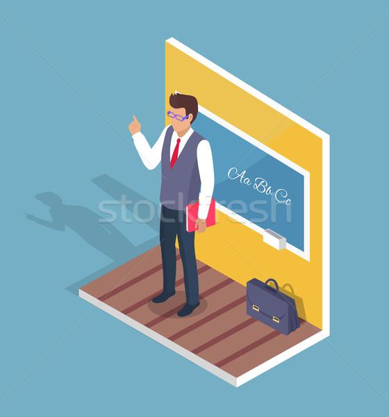 Tanár áll iskolatábla nyelvtan lecke oldalnézet Stock fotó © robuart