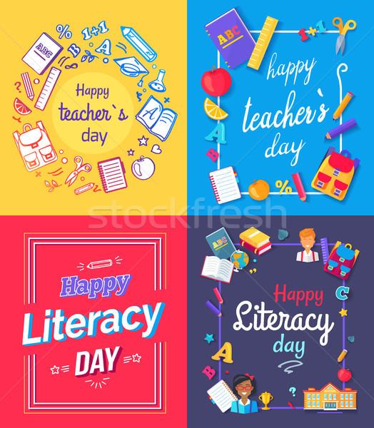 ストックフォト: 幸せ · 教師 · 日 · ポスター · セット · 専用の