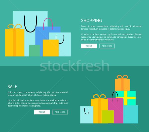 Stok fotoğraf: Ayarlamak · iki · alışveriş · Özel · çanta · hediyeler