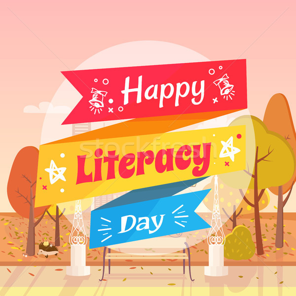 Happy Literacy Day Autumn Vector Illustration Stock photo © robuart