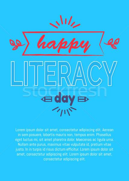 Heureux alphabétisation jour affiche bleu texte Photo stock © robuart