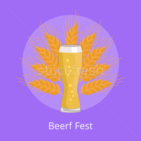 Beer Fest Emblem Weizen Glass on Background Wheat Stock photo © robuart