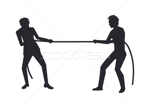 Closeup of Men Competition Vector Illustration Stock photo © robuart