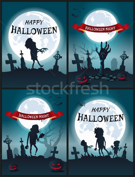 счастливым Хэллоуин ночь набор Scary плакатов Сток-фото © robuart