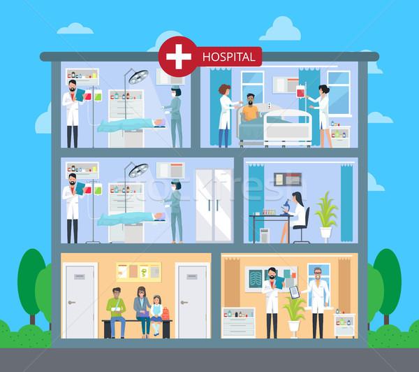 Foto stock: Hospital · edificio · pisos · espera · médicos · laboratorio