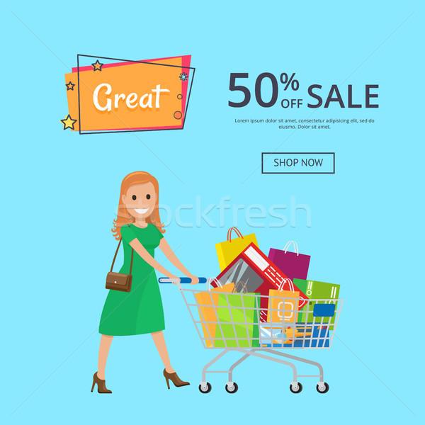 Napis 50 sprzedaży plakat Zdjęcia stock © robuart