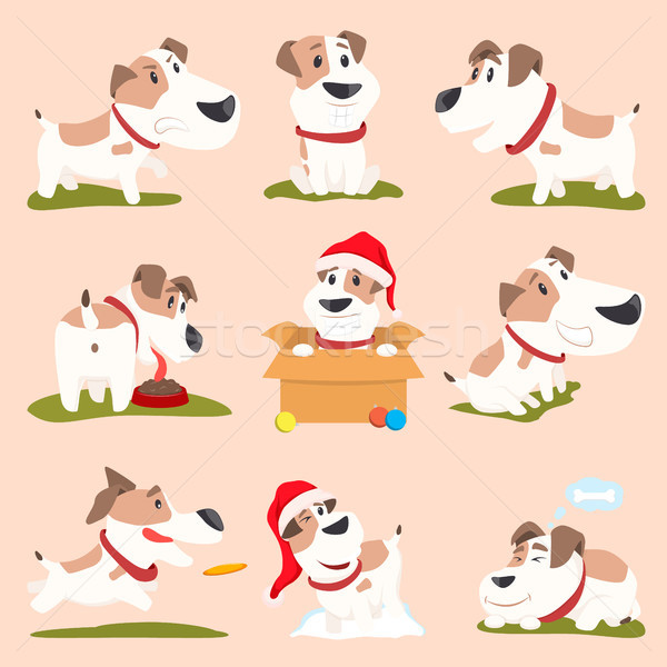 Closeup of Funny Poster Dogs Vector Illustration Stock photo © robuart