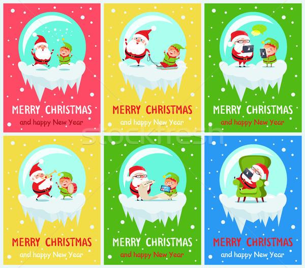 Vidám karácsony mikulás segítő boldog új évet ugrik Stock fotó © robuart