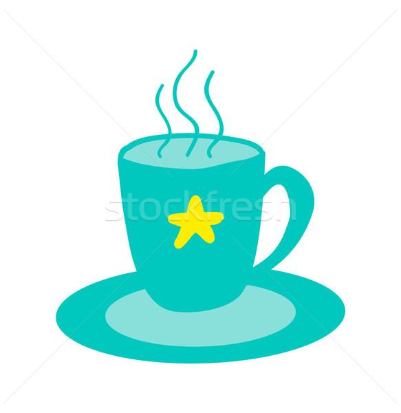 ホット カップ おいしい 茶 星 ソーサー ストックフォト © robuart