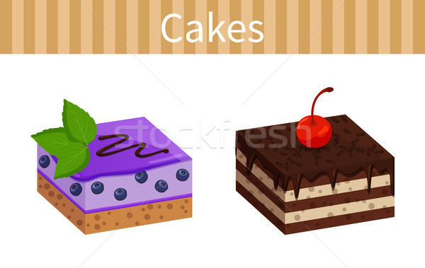 Two Tasty Cheesecakes Posters Vector Illustration Stock photo © robuart