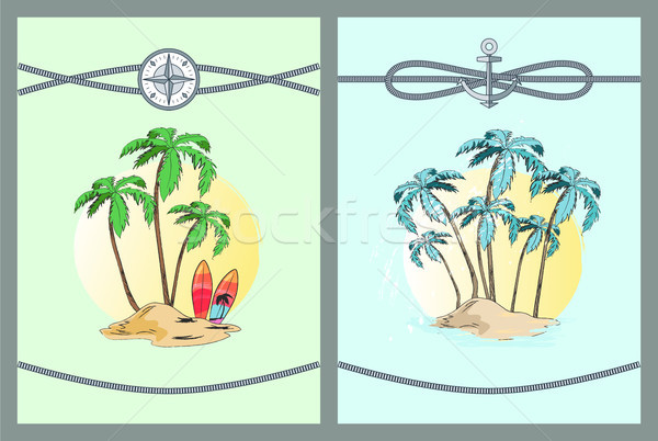 Framed Color Vector Illustrations with Palm Trees Stock photo © robuart