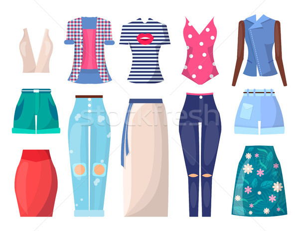 Clothing Set and Summer Mode Vector Illustration Stock photo © robuart