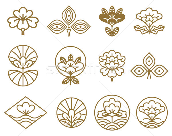 Japanese Icons Flowers Set Vector Illustration Stock photo © robuart