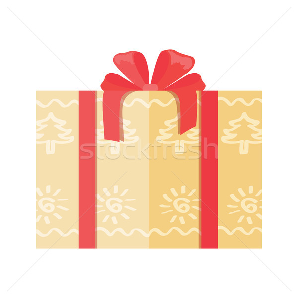 Gift Box Wrapped in Paper with Abstract Trees Icon Stock photo © robuart