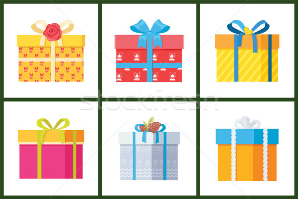 Packed Holiday Boxings with Bows and Ribbon Decor Stock photo © robuart