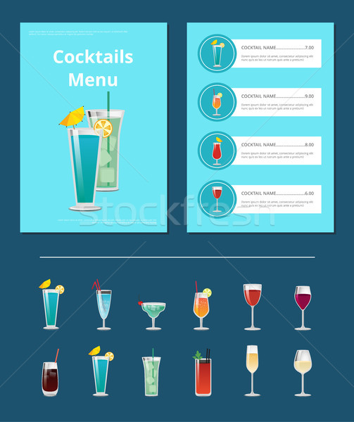 Cocktails Menu Bar Layout with Alcoholic Beverages Stock photo © robuart