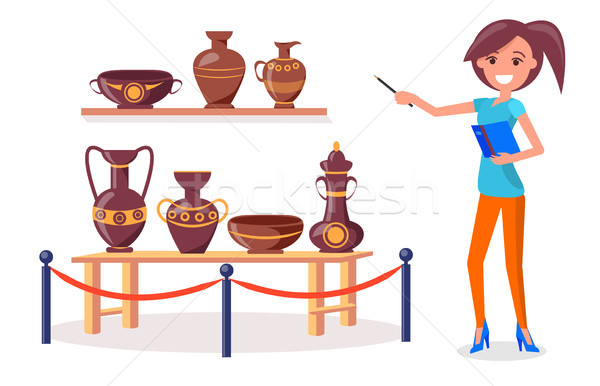 Woman Guide Points on Ancient Greek Pottery Vector Stock photo © robuart