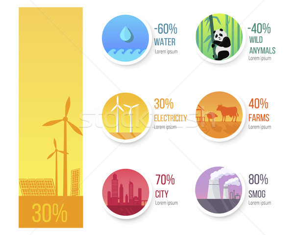 World Ecological Condition Statistic Infographic Stock photo © robuart