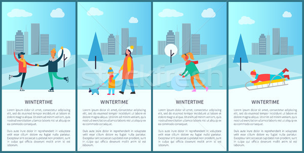 Wintertime People and Text Vector Illustration Stock photo © robuart