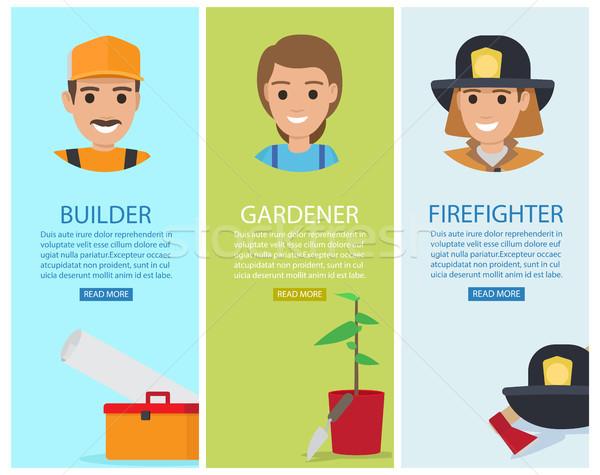 Construtor jardineiro bombeiro vetor banners cartaz Foto stock © robuart