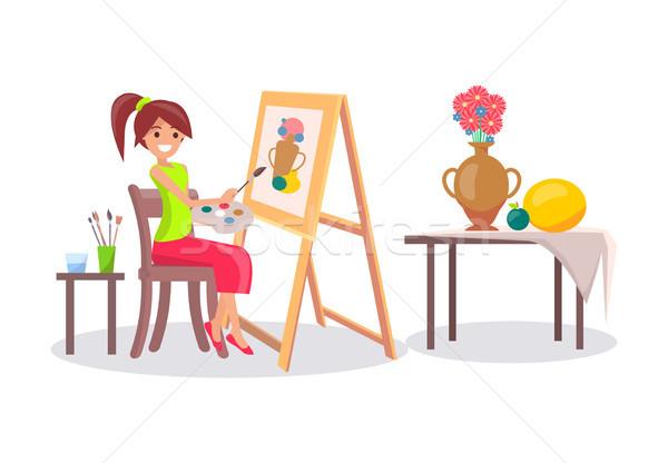 Lány rajz csendélet kép váza gyümölcsök Stock fotó © robuart
