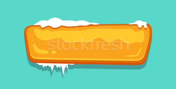 Stock photo: Orange Blank Winter Button Vector Illustrations
