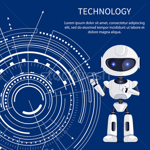 Technologie banner cyborg witte interface cute Stockfoto © robuart