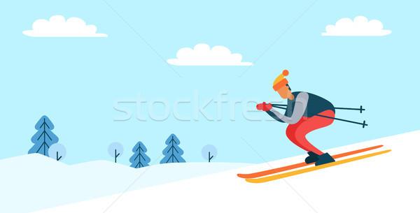 лыжник зима природы плакат Hat Сток-фото © robuart