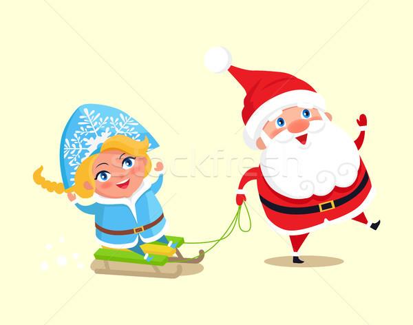Santa Carry Snow Maiden on Sleigh Vector Character Stock photo © robuart