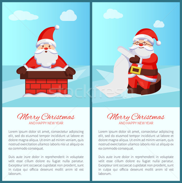 Merry Christmas Santa Claus in Chimney Read Scroll Stock photo © robuart