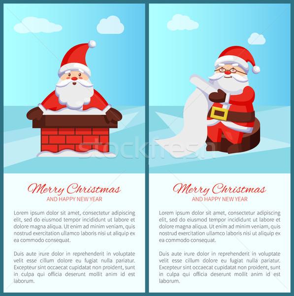 Wesoły christmas Święty mikołaj komin przeczytać przejdź Zdjęcia stock © robuart