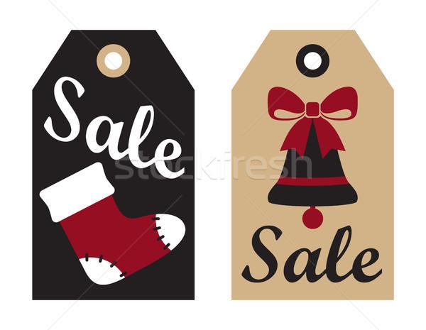 Vendita promo etichetta Natale calzino campana Foto d'archivio © robuart