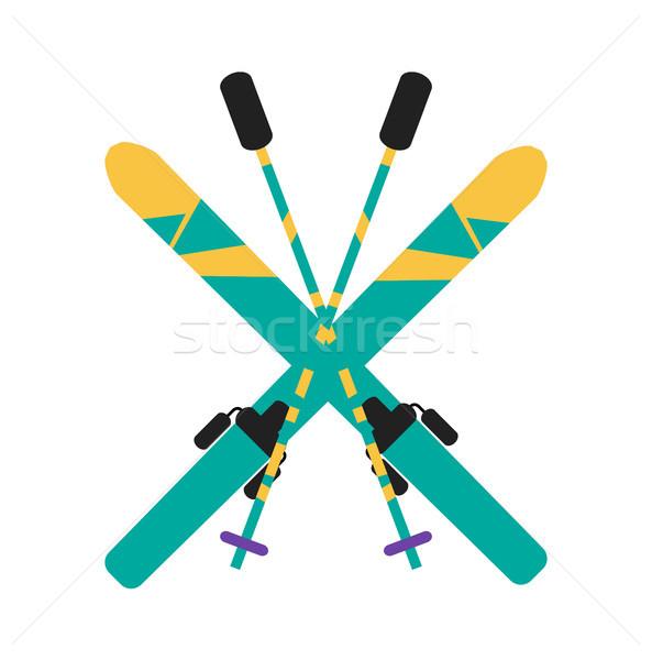 Skiing Equipment Pole Set Vector Illustration Stock photo © robuart