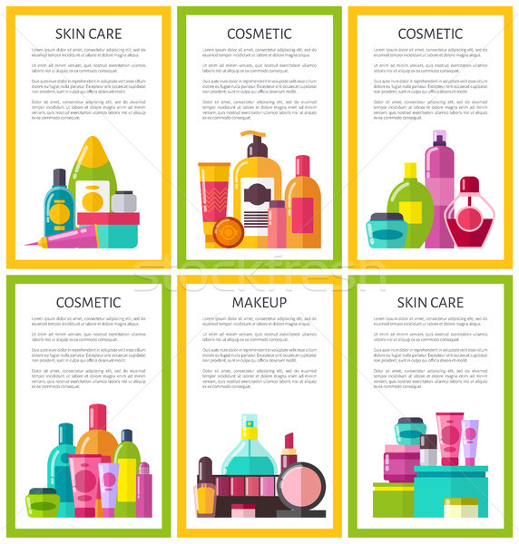 Lot of Skin Care Makeup Cosmetic Color Banners Stock photo © robuart
