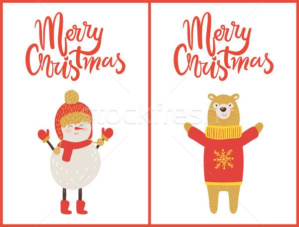 Merry Christmas Snowman, Bear Vector Illustration Stock photo © robuart