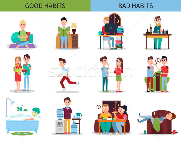 Good and Bad Habits Collection Vector Illustration Stock photo © robuart