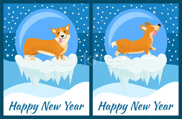 Happy New Year Corgi Symbol of Chinese Horoscope Stock photo © robuart