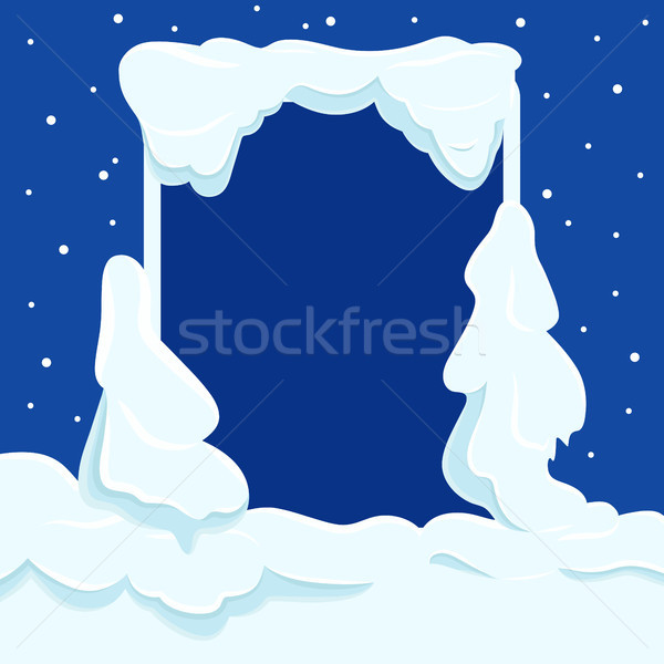 Snowy Square Frame with Copyspace Vector Template Stock photo © robuart