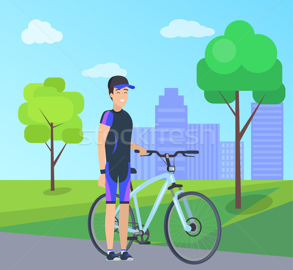 Male with Bike in Special Suit at City Park Vector Stock photo © robuart