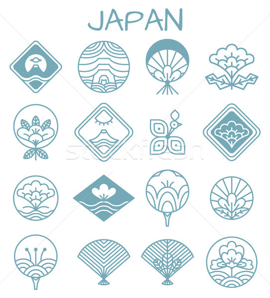 Japanese Icons with Unusual Floristic Patterns Stock photo © robuart