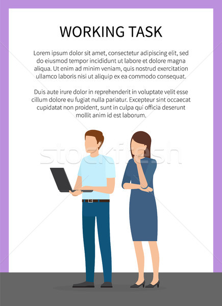 Working Task Man and Woman Vector Illustration Stock photo © robuart