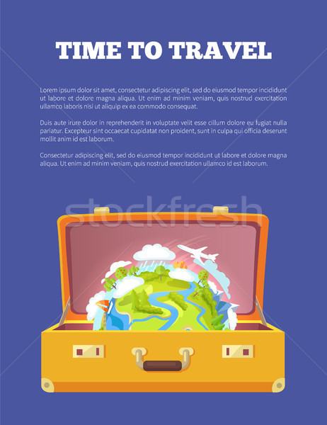 Time to Travel Poster with Open Suitcase and Globe Stock photo © robuart