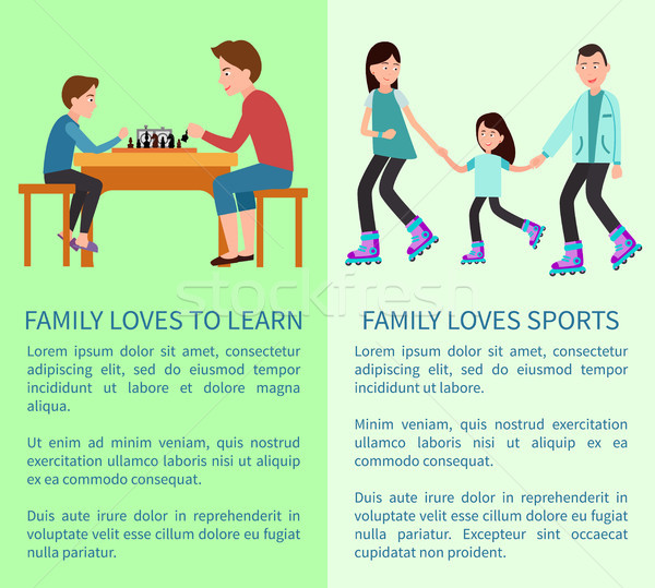 Family Loves to Learn and Sports Bright Cards Stock photo © robuart