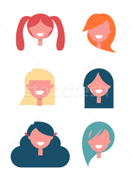 Faceless Girls Heads with Stylish Hairstyles Set Stock photo © robuart