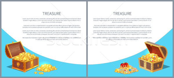 Treasure Posters Set Gold Ancient Coins Chests Stock photo © robuart