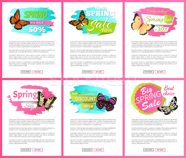 Morpho Springtime Creatures Vector Promo Labels Stock photo © robuart