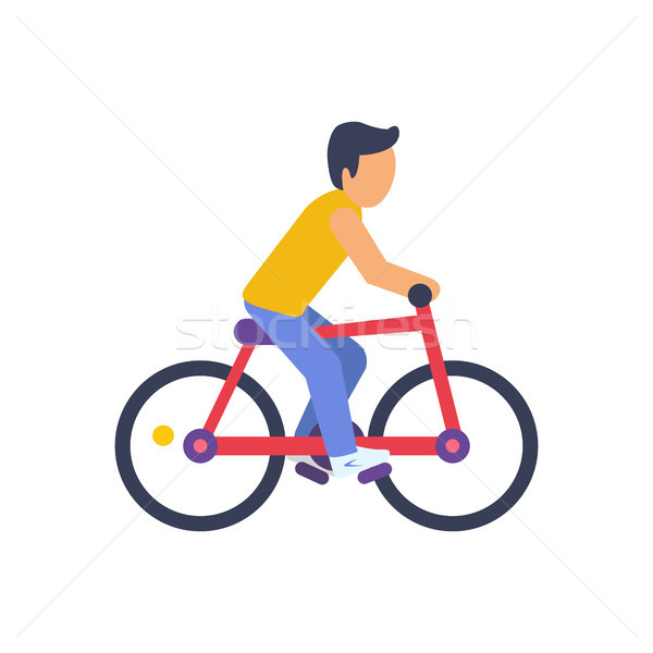 Ciclista vermelho bicicleta colorido homem amarelo Foto stock © robuart