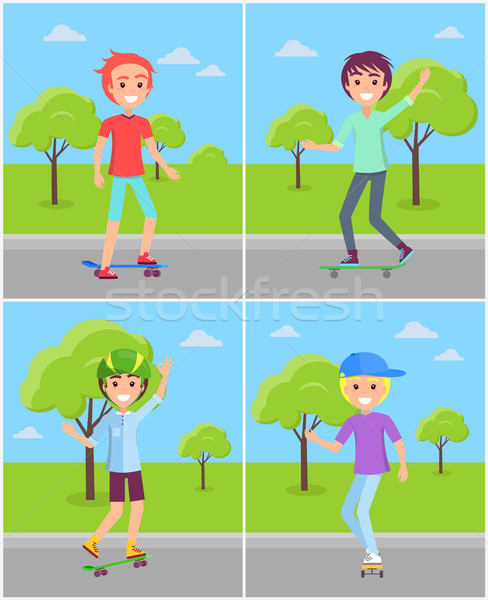 Set of Boys Skaters Riding in Green Park Vector Stock photo © robuart