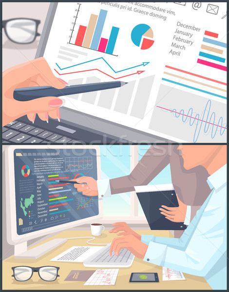 Affaires statistiques analytics couleur affiche bureau Photo stock © robuart